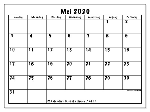 Kalender mei 2020, 48ZZ. Gratis kalender om af te drukken.