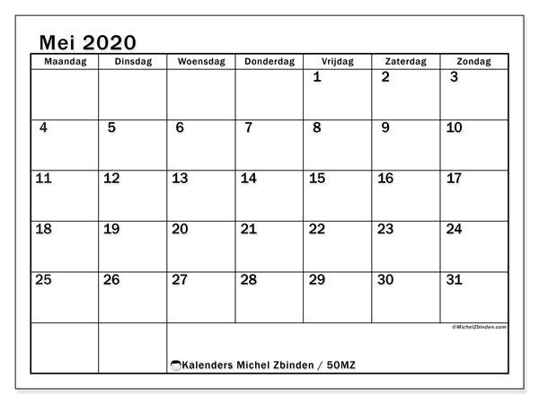 Kalender mei 2020, 50MZ. Kalender voor de maand die gratis moet worden afgedrukt.