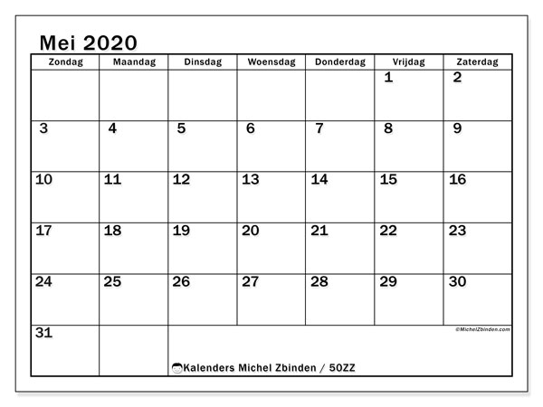 Kalender mei 2020, 50ZZ. Gratis kalender om af te drukken.