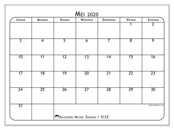 Kalender mei 2020, 51ZZ. Kalender voor de maand die gratis moet worden afgedrukt.