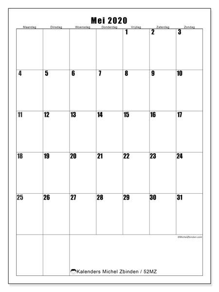 Kalender mei 2020, 52MZ. Kalender voor de maand die gratis moet worden afgedrukt.