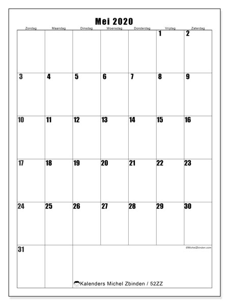 Kalender mei 2020, 52ZZ. Gratis kalender om af te drukken.