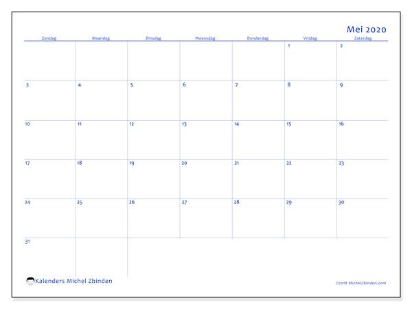 Kalender mei 2020, 55ZZ. Kalender om gratis af te drukken.