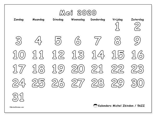 Kalender mei 2020, 56ZZ. Kalender voor de maand die gratis moet worden afgedrukt.