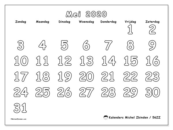 Kalender mei 2020, 56ZZ. Agenda om gratis te printen.
