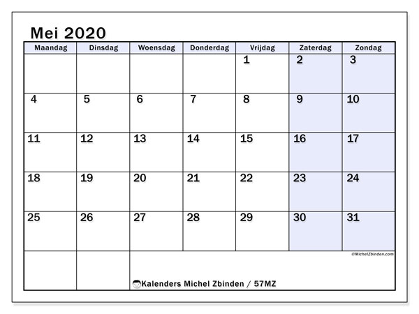 Kalender mei 2020, 57MZ. Kalender om gratis af te drukken.