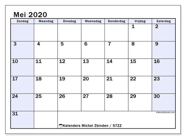 Kalender mei 2020, 57ZZ. Gratis kalender om af te drukken.
