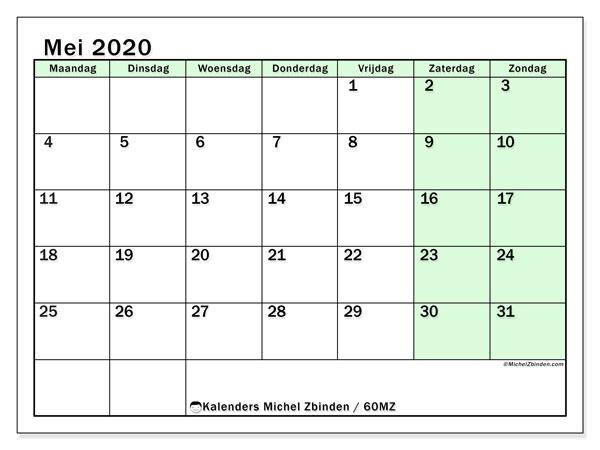 Kalender mei 2020, 60MZ. Gratis afdrukbare kalender.