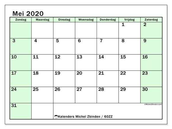Kalender mei 2020, 60ZZ. Gratis afdrukbare kalender.