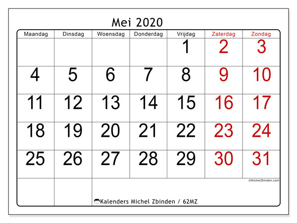 Kalender mei 2020, 62MZ. Gratis printbare kalender.