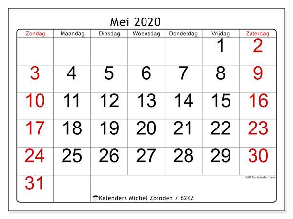 Kalender mei 2020, 62ZZ. Agenda om gratis te printen.