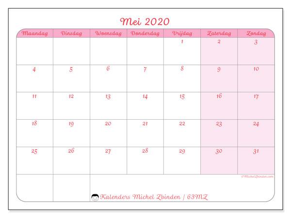 Kalender mei 2020, 63MZ. Maandkalender om gratis te printen.