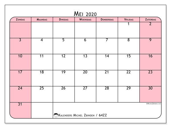 Kalender mei 2020, 64ZZ. Gratis afdrukbare kalender.
