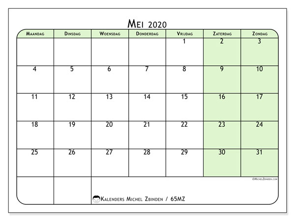 Kalender mei 2020, 65MZ. Agenda om gratis te printen.