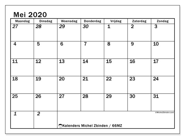 Kalender mei 2020, 66MZ. Gratis kalender om af te drukken.