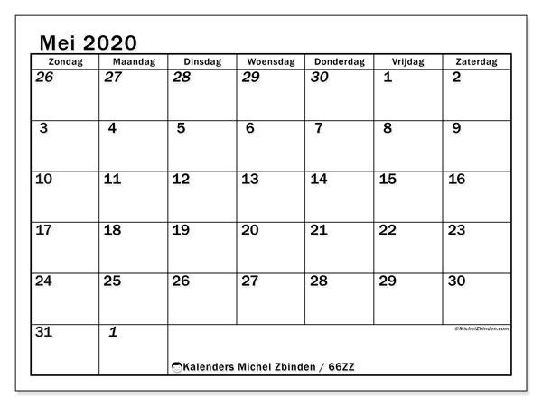 Kalender mei 2020, 66ZZ. Gratis printbare kalender.