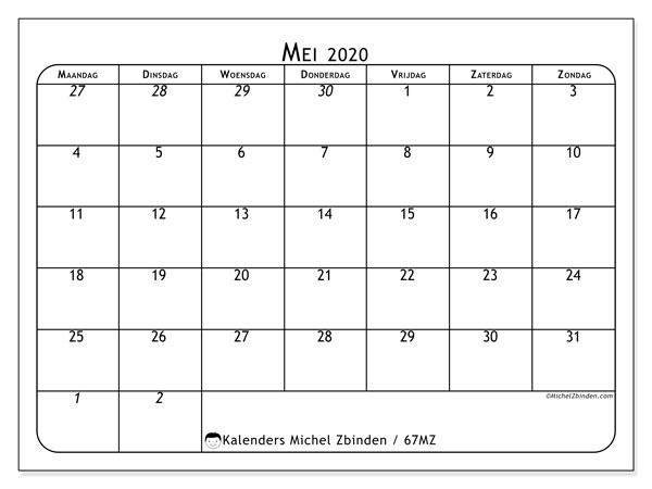 Kalender mei 2020, 67MZ. Kalender om gratis te printen.