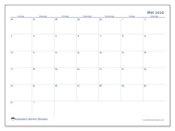 Kalender mei 2020, 73ZZ. Maandkalender om gratis te printen.