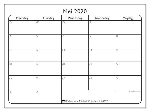 Kalender mei 2020, 74MZ. Kalender om gratis af te drukken.