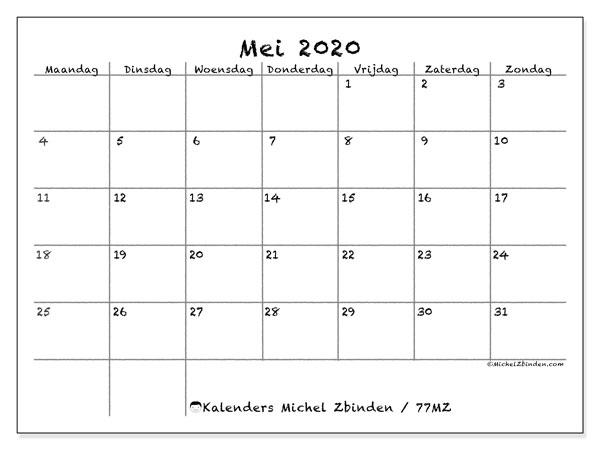 Kalender mei 2020, 77MZ. Kalender voor de maand die gratis moet worden afgedrukt.