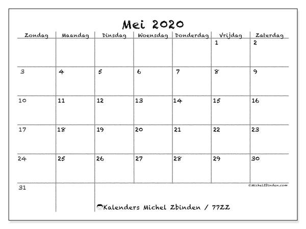 Kalender mei 2020, 77ZZ. Maandkalender om gratis te printen.