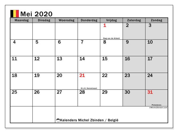 Kalender mei 2020 met de feestdagen van België. Agenda om gratis te printen.