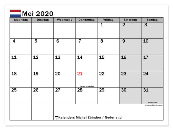Kalender mei 2020 met de feestdagen van Nederland. Gratis afdrukbare kalender.