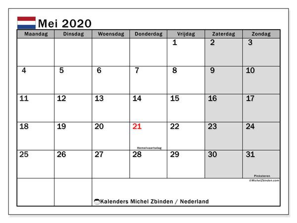 Kalender mei 2020, met feestdagen in Nederland. Kalender feestdagen om gratis te printen.