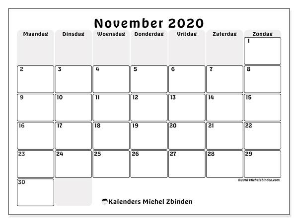 Kalender november 2020, 44MZ. Kalender om gratis af te drukken.