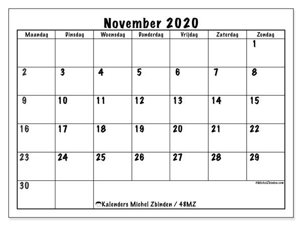 Kalender november 2020, 48MZ. Maandkalender om gratis te printen.