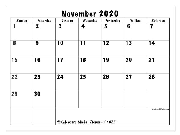 Kalender november 2020, 48ZZ. Schema om gratis te printen.