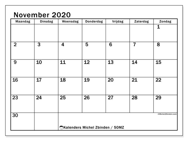 Kalender november 2020, 50MZ. Schema om gratis te printen.
