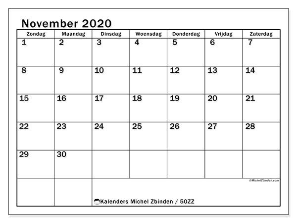 Kalender november 2020, 50ZZ. Maandkalender om gratis te printen.