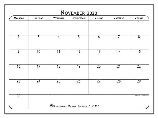 Kalender november 2020, 51MZ. Maandkalender om gratis te printen.