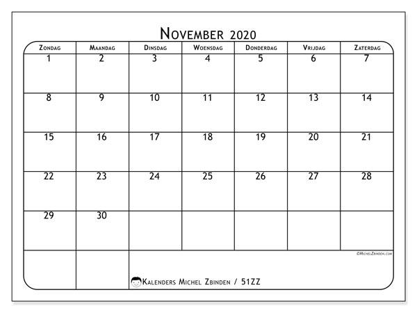 Kalender november 2020, 51ZZ. Maandkalender om gratis te printen.