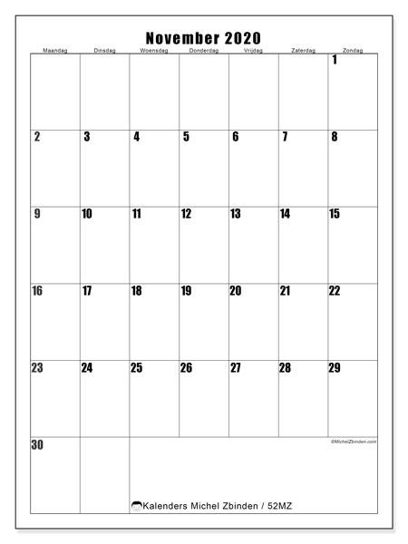 Kalender november 2020, 52MZ. Kalender voor de maand die gratis moet worden afgedrukt.