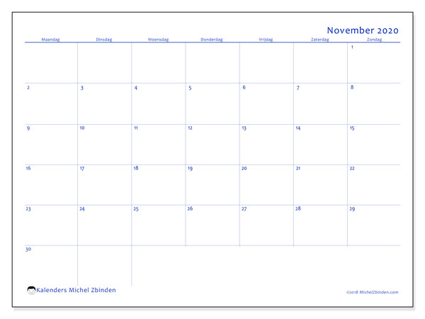 Kalender november 2020, 55MZ. Agenda om gratis te printen.