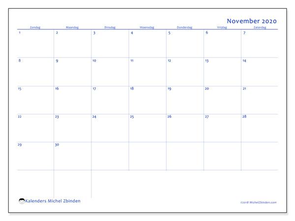 Kalender november 2020, 55ZZ. Gratis kalender om af te drukken.