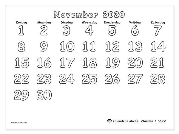 Kalender november 2020, 56ZZ. Kalender voor de maand die gratis moet worden afgedrukt.