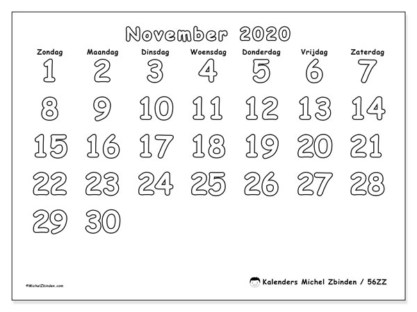 Kalender november 2020, 56ZZ. Agenda om gratis te printen.