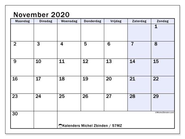 Kalender november 2020, 57MZ. Schema om gratis te printen.