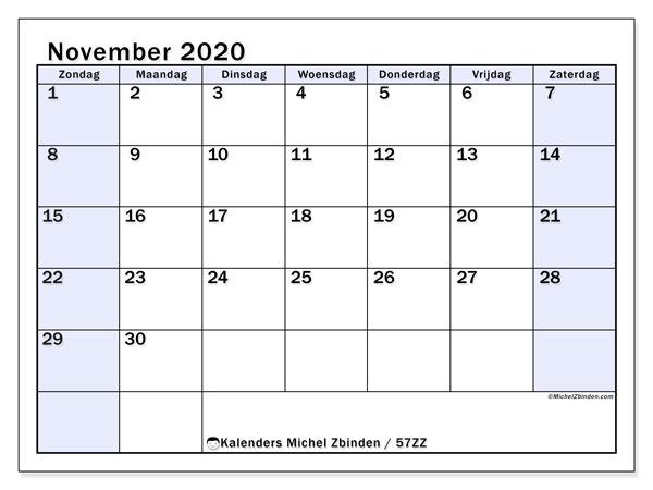 Kalender november 2020, 57ZZ. Maandkalender om gratis te printen.