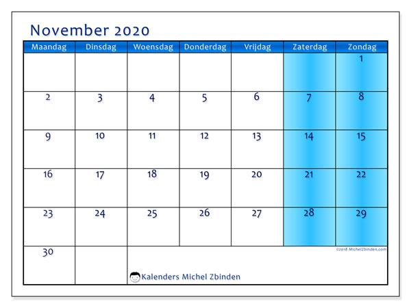 Kalender november 2020, 58MZ. Kalender voor de maand die gratis moet worden afgedrukt.