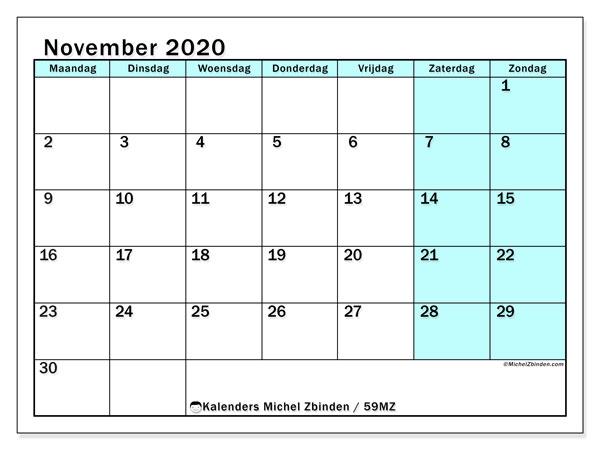 Kalender november 2020, 59MZ. Gratis printbare kalender.
