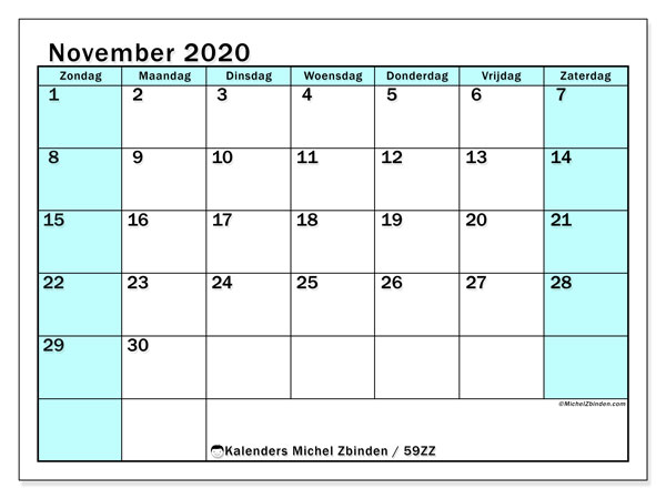 Kalender november 2020, 59ZZ. Kalender om gratis te printen.