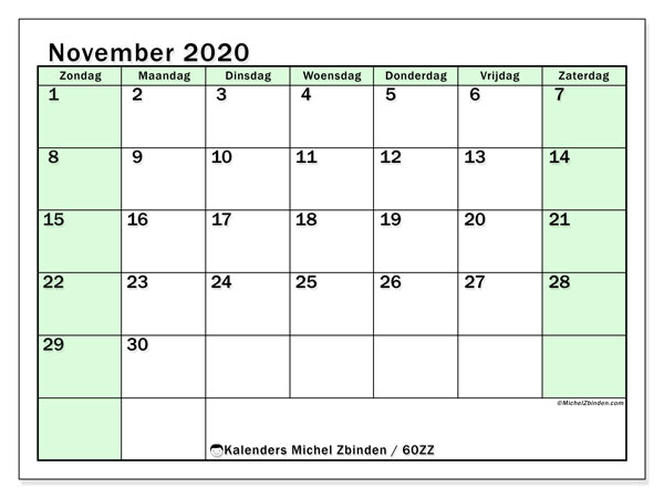 Kalender november 2020, 60ZZ. Agenda om gratis te printen.