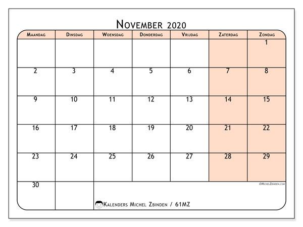 Kalender november 2020, 61MZ. Agenda om gratis te printen.