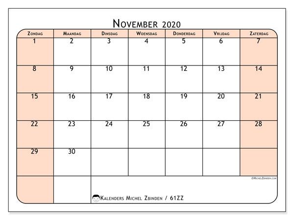 Kalender november 2020, 61ZZ. Kalender om gratis te printen.