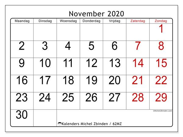 Kalender november 2020, 62MZ. Schema om gratis te printen.