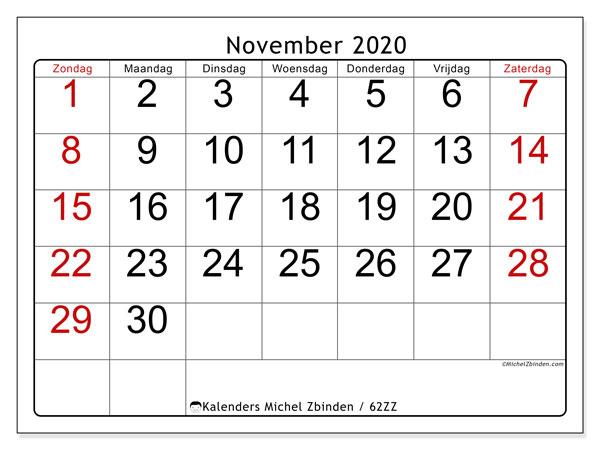 Kalender november 2020, 62ZZ. Kalender voor de maand die gratis moet worden afgedrukt.